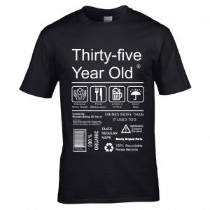 Premium Funny 35 Year Old Package Care Label Instructions Motif  35th Birthday Men's T-shirt Top